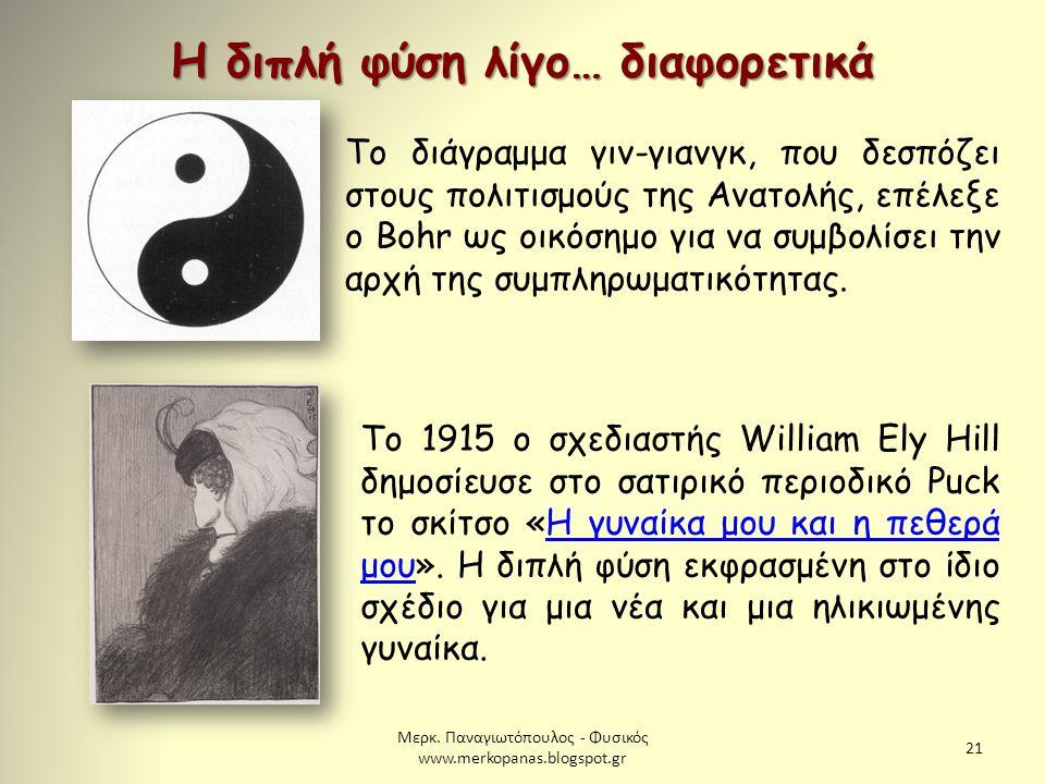 Μερκ. Παναγιωτόπουλος - Φυσικός www.merkopanas.blogspot.gr 21 Το διάγραμμα γιν-γιανγκ, που δεσπόζει στους πολιτισμούς της Ανατολής, επέλεξε ο Bohr ως