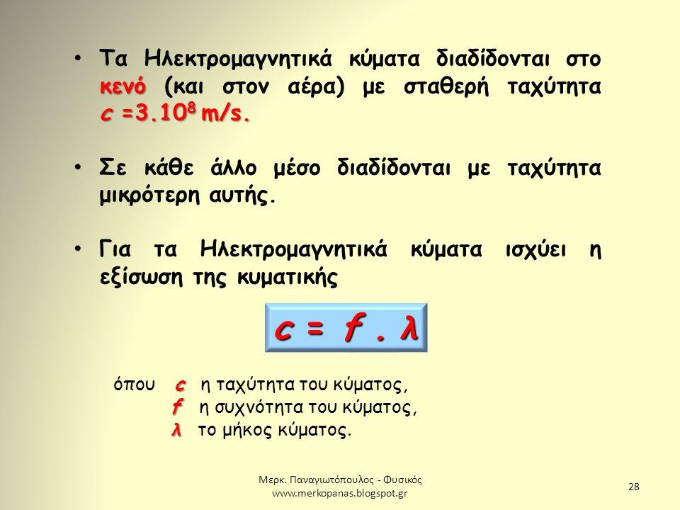 Μερκ. Παναγιωτόπουλος - Φυσικός www.merkopanas.blogspot.gr 28 κενό c =3.10 8 m/s. Τα Ηλεκτρομαγνητικά κύματα διαδίδονται στο κενό (και στον αέρα) με σ