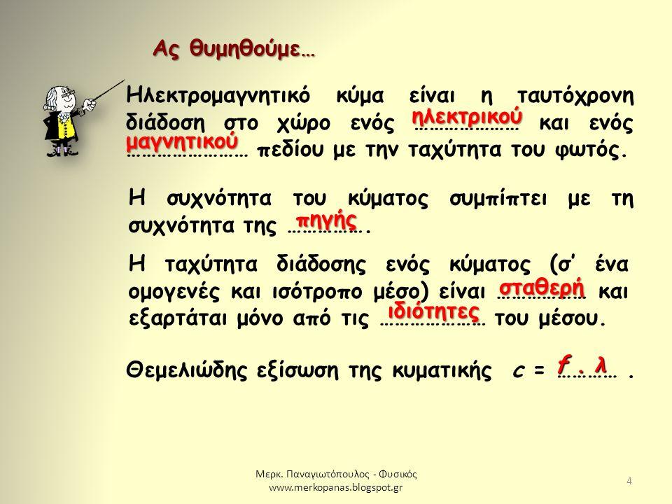 Μερκ. Παναγιωτόπουλος - Φυσικός www.merkopanas.blogspot.gr 4 Ας θυμηθούμε… ηλεκτρικού Η συχνότητα του κύματος συμπίπτει με τη συχνότητα της ……………. πηγ