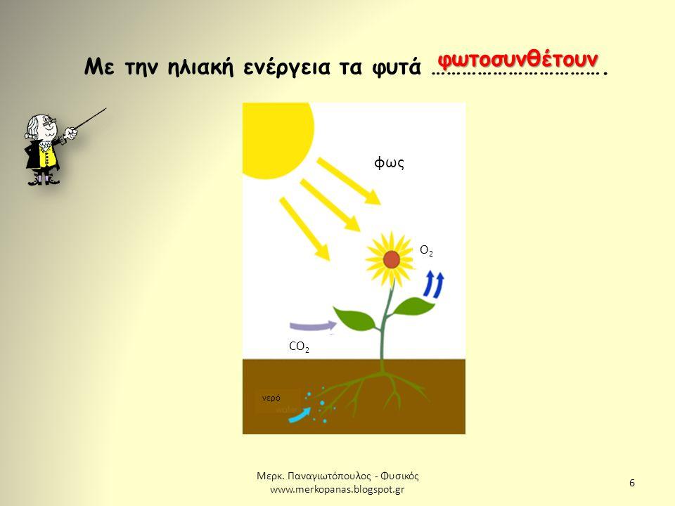 Μερκ. Παναγιωτόπουλος - Φυσικός www.merkopanas.blogspot.gr 6 Με την ηλιακή ενέργεια τα φυτά ……………………………. φωτοσυνθέτουν φως Ο2Ο2 CO 2 νερό