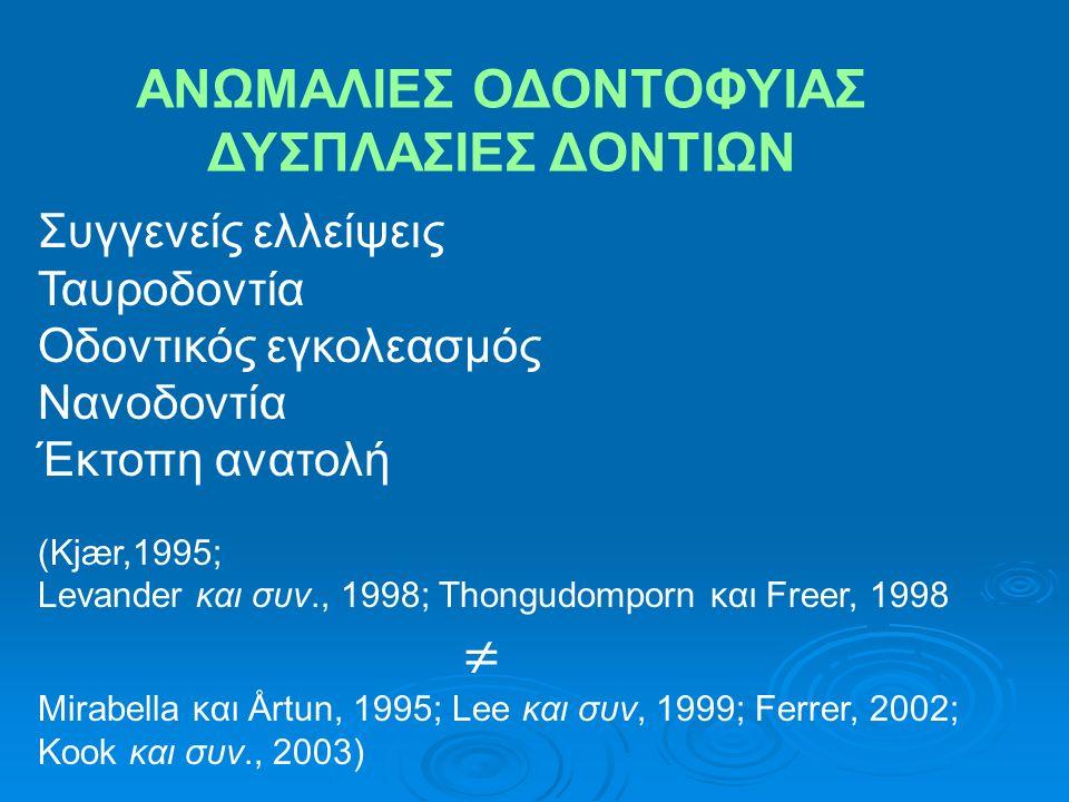 ANΩΜΑΛΙΕΣ ΣΧΗΜΑΤΟΣ ΡΙΖΑΣ (Levander και Malmgren 1988; Kjær, 1995; Lee και συν., 1999) Oyama και συν., 2007 A.Φυσιολογική B.Κοντή C.Αμβλεία D.Κεκαμμένο ακρορρίζιο E.Σχήματος πιπέττας