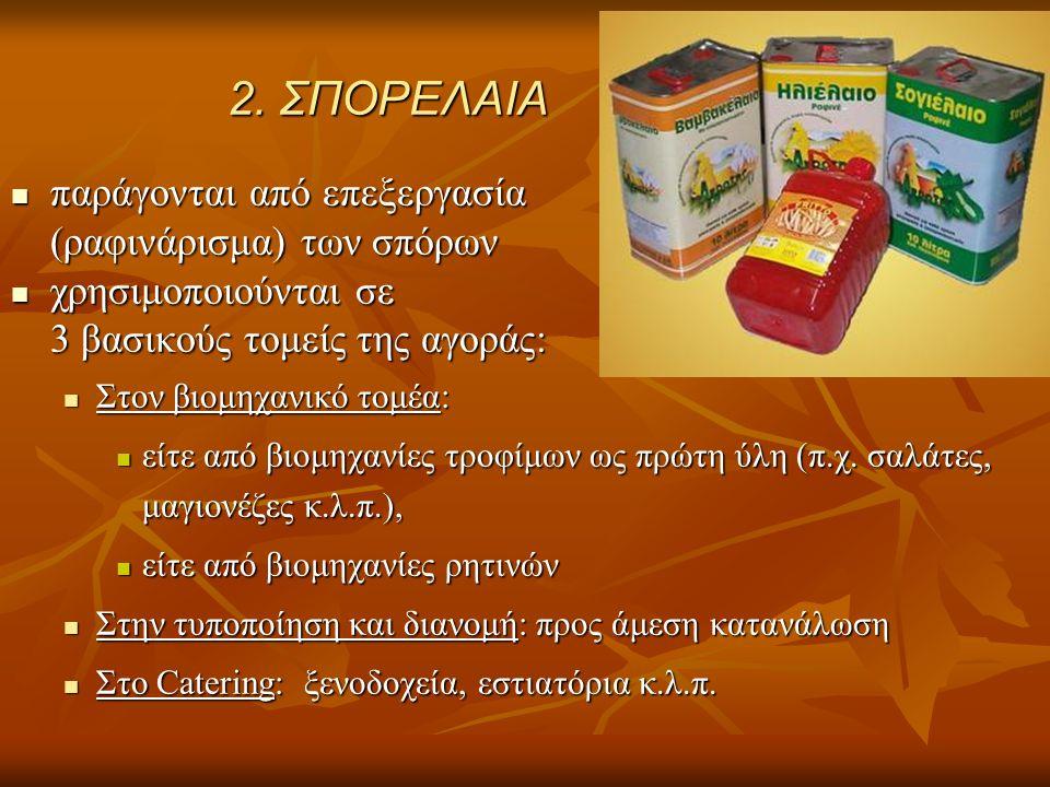 2. ΣΠΟΡΕΛΑΙΑ παράγονται από επεξεργασία παράγονται από επεξεργασία (ραφινάρισμα) των σπόρων χρησιμοποιούνται σε χρησιμοποιούνται σε 3 βασικούς τομείς