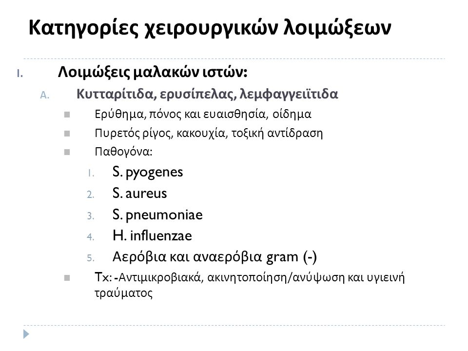 Κατηγορίες χειρουργικών λοιμώξεων I. Λοιμώξεις μαλακών ιστών : A.