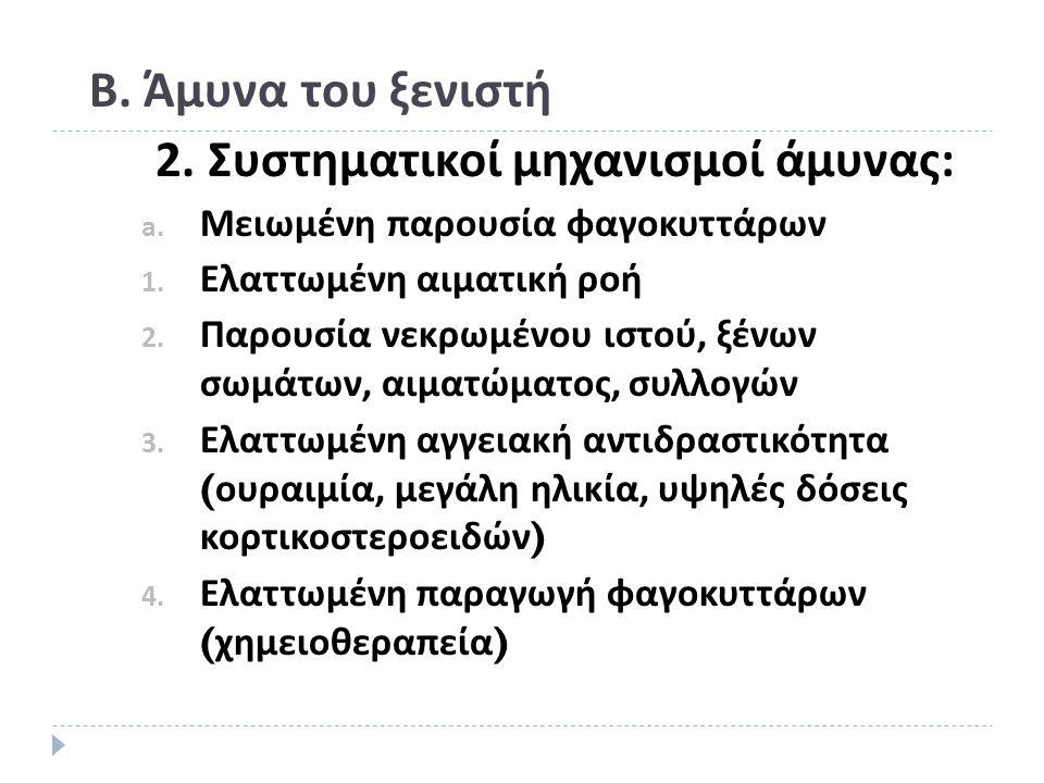 Β. Άμυνα του ξενιστή 2. Συστηματικοί μηχανισμοί άμυνας: a.