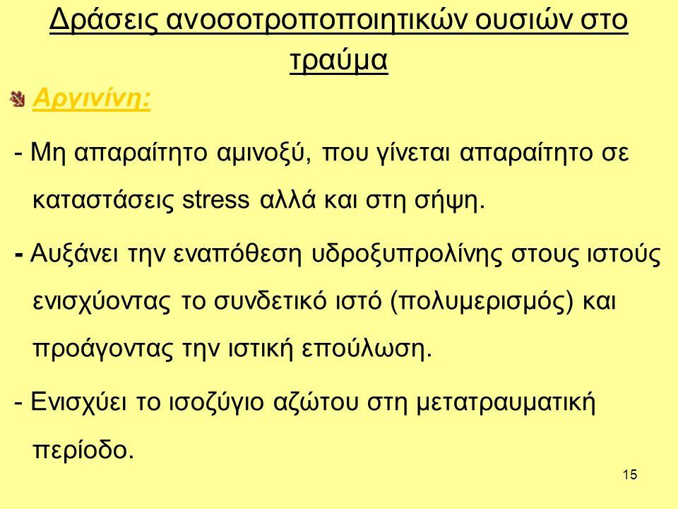 15 Αργινίνη: - Μη απαραίτητο αμινοξύ, που γίνεται απαραίτητο σε καταστάσεις stress αλλά και στη σήψη.