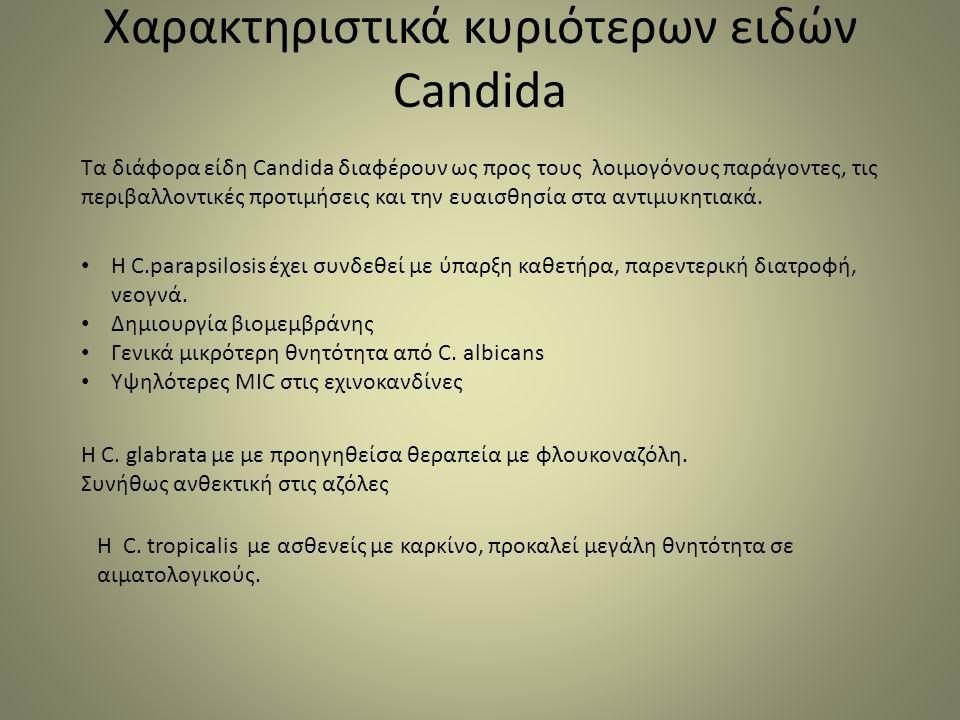 Χαρακτηριστικά κυριότερων ειδών Candida Τα διάφορα είδη Candida διαφέρουν ως προς τους λοιμογόνους παράγοντες, τις περιβαλλοντικές προτιμήσεις και την ευαισθησία στα αντιμυκητιακά.