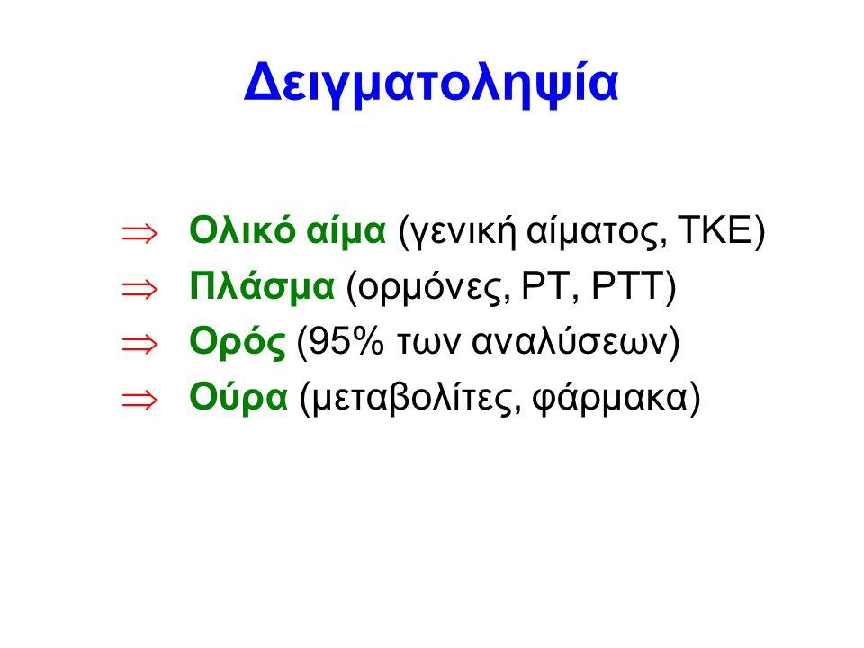 Δειγματοληψία  Ολικό αίμα (γενική αίματος, ΤΚΕ)  Πλάσμα (ορμόνες, PT, PTT)  Ορός (95% των αναλύσεων)  Ούρα (μεταβολίτες, φάρμακα)