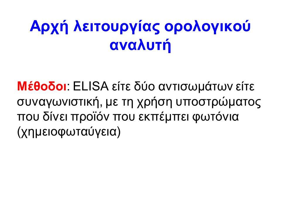 Αρχή λειτουργίας ορολογικού αναλυτή Μέθοδοι: ELISA είτε δύο αντισωμάτων είτε συναγωνιστική, με τη χρήση υποστρώματος που δίνει προϊόν που εκπέμπει φωτόνια (χημειοφωταύγεια)