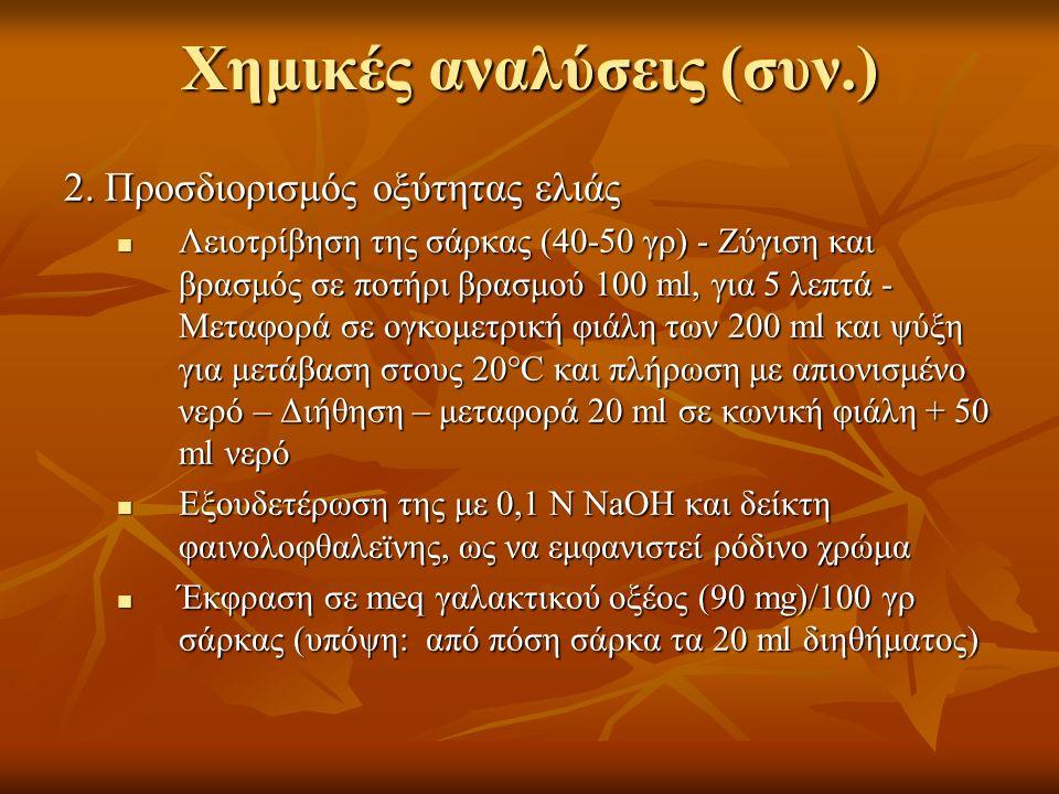 Χημικές αναλύσεις (συν.) 2. Προσδιορισμός οξύτητας ελιάς Λειοτρίβηση της σάρκας (40-50 γρ) - Ζύγιση και βρασμός σε ποτήρι βρασμού 100 ml, για 5 λεπτά