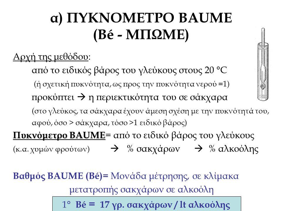 Αρχή της μεθόδου: από το ειδικός βάρος του γλεύκους στους 20 °C (ή σχετική πυκνότητα, ως προς την πυκνότητα νερού =1) προκύπτει  η περιεκτικότητα του σε σάκχαρα (στο γλεύκος, τα σάκχαρα έχουν άμεση σχέση με την πυκνότητά του, αφού, όσο > σάκχαρα, τόσο >1 ειδικό βάρος) Πυκνόμετρο BAUME Πυκνόμετρο BAUME = από το ειδικό βάρος του γλεύκους (κ.α.