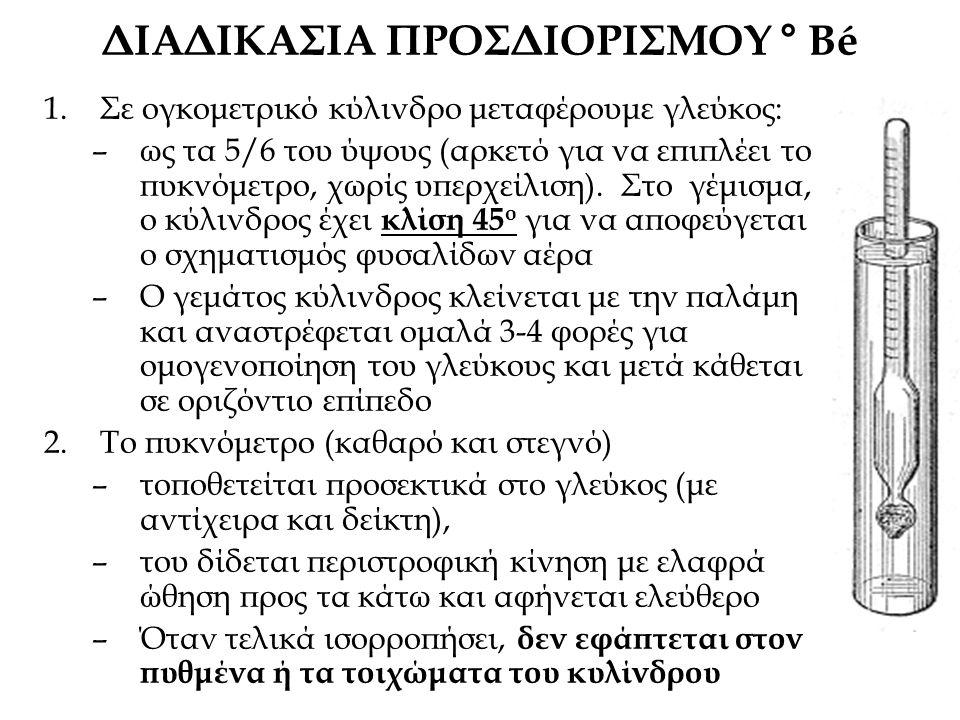ΔΙΑΔΙΚΑΣΙΑ ΠΡΟΣΔΙΟΡΙΣΜΟΥ ° Bé 1.Σε ογκομετρικό κύλινδρο μεταφέρουμε γλεύκος: –ως τα 5/6 του ύψους (αρκετό για να επιπλέει το πυκνόμετρο, χωρίς υπερχείλιση).