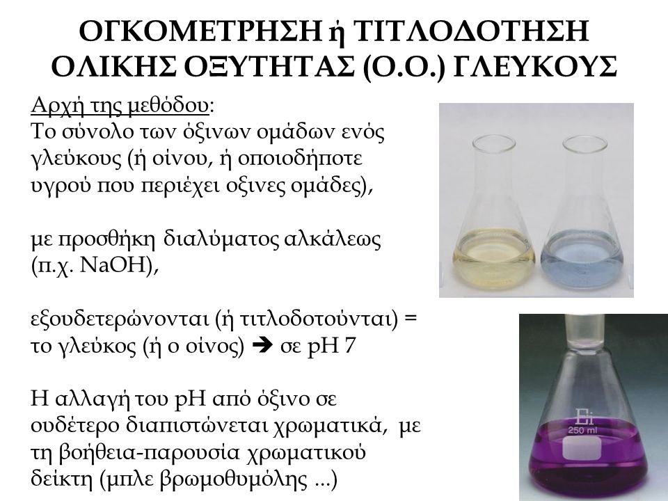ΟΓΚΟΜΕΤΡΗΣΗ ή ΤΙΤΛΟΔΟΤΗΣΗ ΟΛΙΚΗΣ ΟΞΥΤΗΤΑΣ (Ο.Ο.) ΓΛΕΥΚΟΥΣ Αρχή της μεθόδου: Το σύνολο των όξινων ομάδων ενός γλεύκους (ή οίνου, ή οποιοδήποτε υγρού που περιέχει οξινες ομάδες), με προσθήκη διαλύματος αλκάλεως (π.χ.
