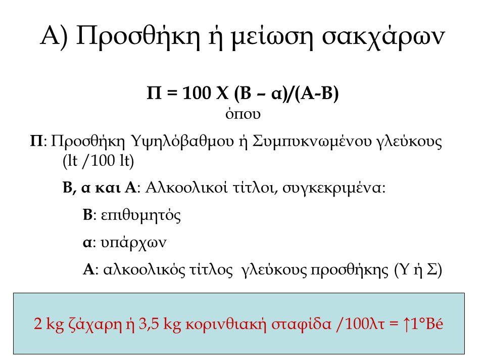 2 kg ζάχαρη ή 3,5 kg κορινθιακή σταφίδα /100λτ = ↑1°Βé Α) Προσθήκη ή μείωση σακχάρων Π = 100 Χ (Β – α)/(Α-Β) όπου Π : Προσθήκη Υψηλόβαθμου ή Συμπυκνωμένου γλεύκους (lt /100 lt) Β, α και Α : Αλκοολικοί τίτλοι, συγκεκριμένα: Β : επιθυμητός α : υπάρχων Α : αλκοολικός τίτλος γλεύκους προσθήκης (Υ ή Σ)