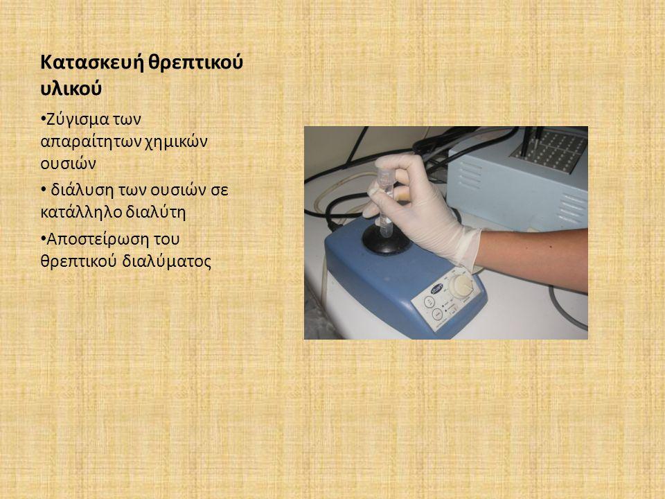Κατασκευή θρεπτικού υλικού Ζύγισμα των απαραίτητων χημικών ουσιών διάλυση των ουσιών σε κατάλληλο διαλύτη Αποστείρωση του θρεπτικού διαλύματος