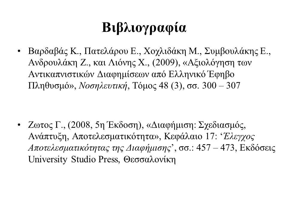 Βιβλιογραφία Βαρδαβάς Κ., Πατελάρου Ε., Χοχλιδάκη Μ., Συμβουλάκης Ε., Ανδρουλάκη Ζ., και Λιόνης Χ., (2009), «Αξιολόγηση των Αντικαπνιστικών Διαφημίσεων από Ελληνικό Έφηβο Πληθυσμό», Νοσηλευτική, Τόμος 48 (3), σσ.