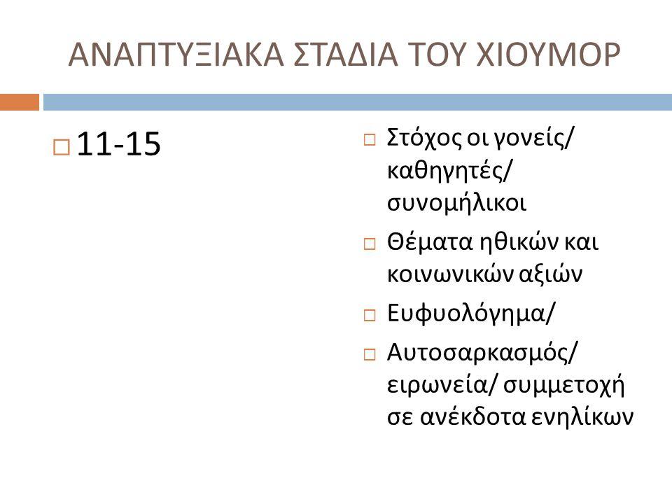 ΑΝΑΠΤΥΞΙΑΚΑ ΣΤΑΔΙΑ ΤΟΥ ΧΙΟΥΜΟΡ  11-15  Στόχος οι γονείς / καθηγητές / συνομήλικοι  Θέματα ηθικών και κοινωνικών αξιών  Ευφυολόγημα /  Αυτοσαρκασμός / ειρωνεία / συμμετοχή σε ανέκδοτα ενηλίκων