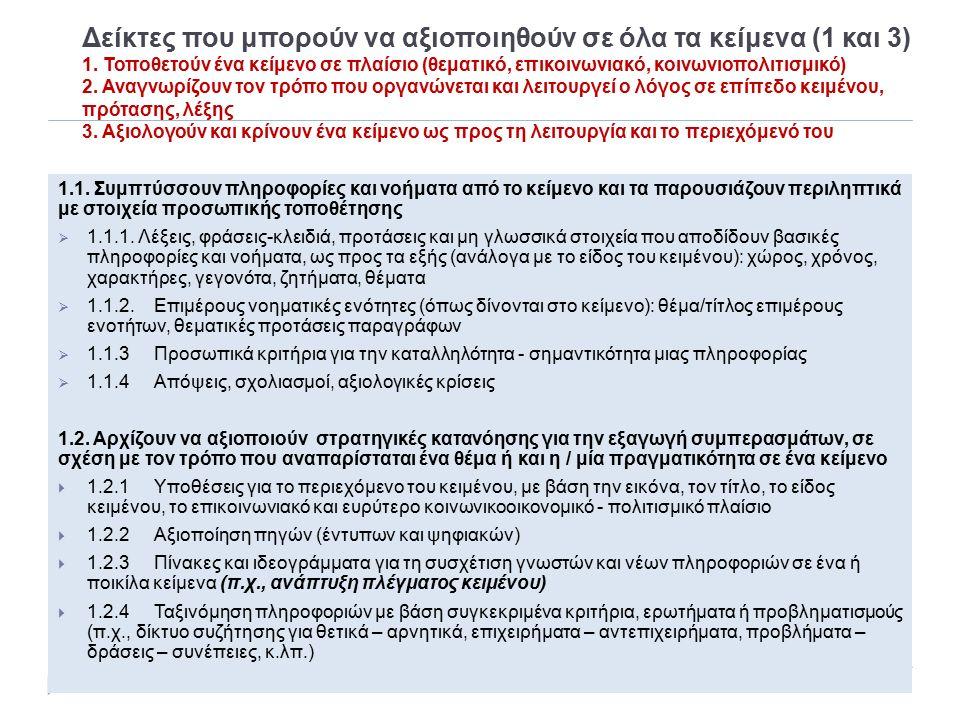 Δείκτες που μπορούν να αξιοποιηθούν σε όλα τα κείμενα (1 και 3) 1. Τοποθετούν ένα κείμενο σε πλαίσιο (θεματικό, επικοινωνιακό, κοινωνιοπολιτισμικό) 2.