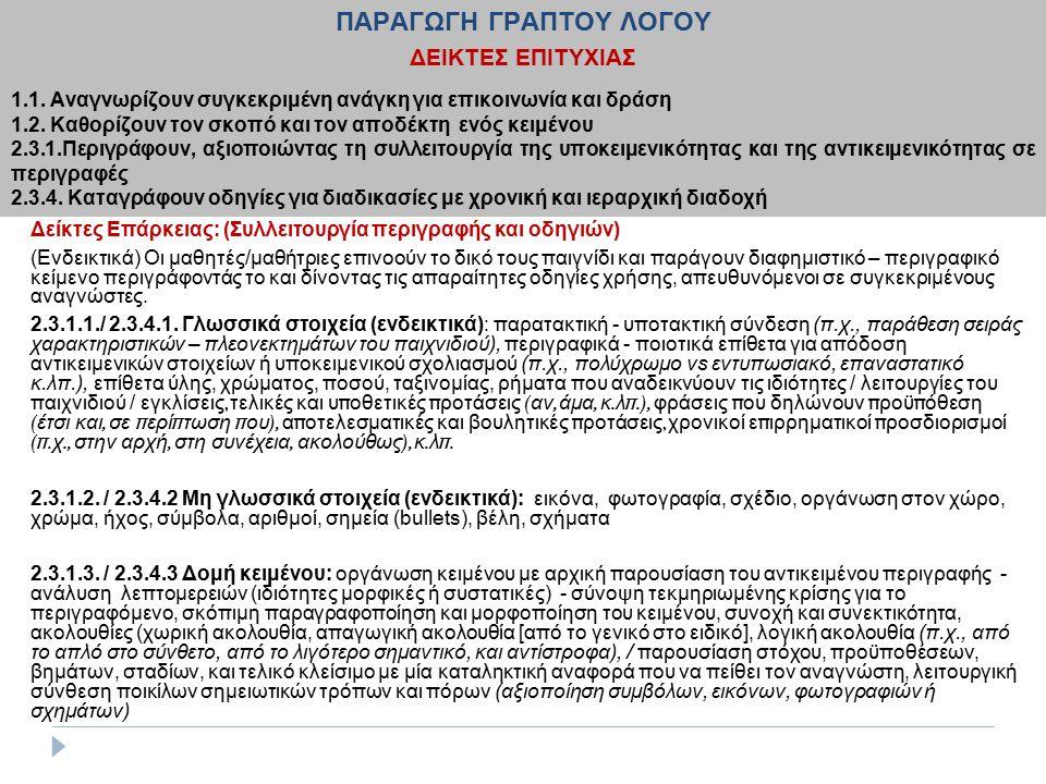 2.4.4. Κατανοούν οδηγίες για διαδικασίες με χρονική και ιεραρχική διαδοχή (ενδεικτικά παραδείγματα) Δείκτες Επάρκειας: (Συλλειτουργία περιγραφής και ο