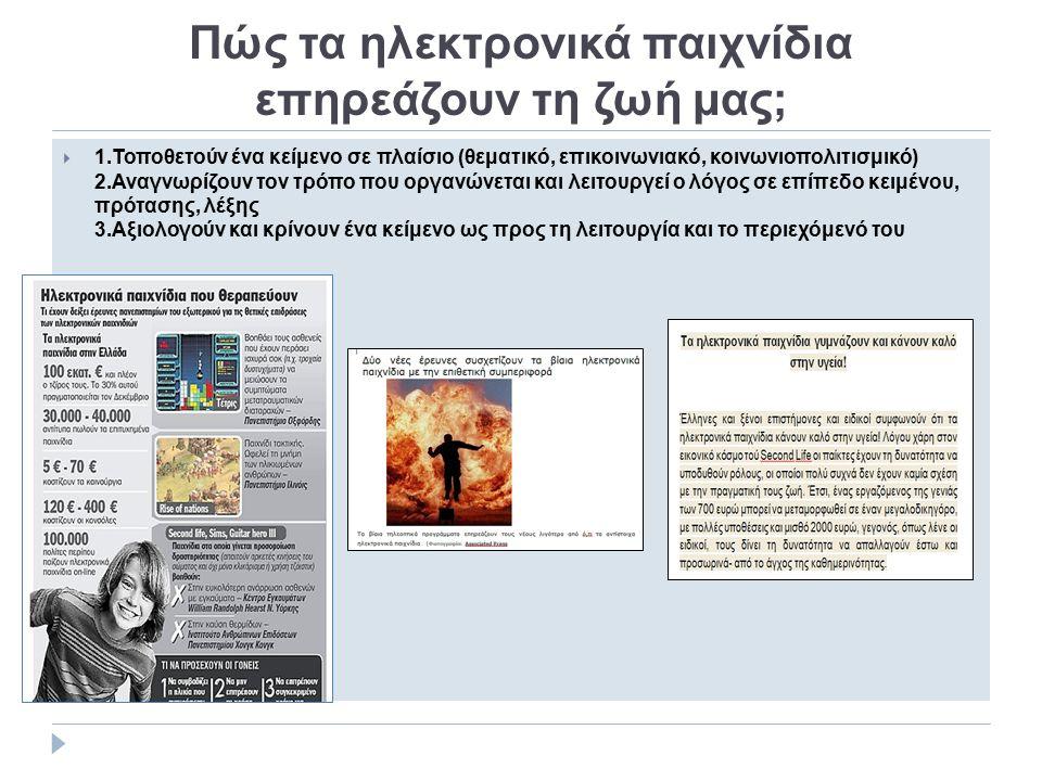 Πώς τα ηλεκτρονικά παιχνίδια επηρεάζουν τη ζωή μας;  1.Τοποθετούν ένα κείμενο σε πλαίσιο (θεματικό, επικοινωνιακό, κοινωνιοπολιτισμικό) 2.Αναγνωρίζου