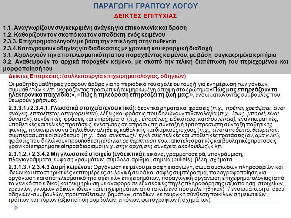 2.4.4. Κατανοούν οδηγίες για διαδικασίες με χρονική και ιεραρχική διαδοχή (ενδεικτικά παραδείγματα) Δείκτες Επάρκειας: (συλλειτουργία επιχειρηματολογί