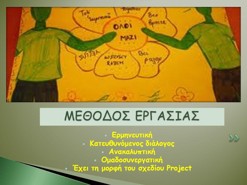 Ερμηνευτική Κατευθυνόμενος διάλογος Ανακαλυπτική Ομαδοσυνεργατική Έχει τη μορφή του σχεδίου Project ΜΕΘΟΔΟΣ ΕΡΓΑΣΙΑΣ