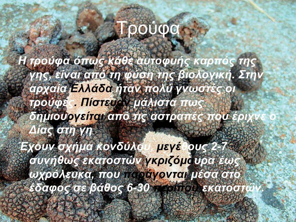 Τρούφα Η τρούφα όπως κάθε αυτοφυής καρπός της γης, είναι από τη φύση της βιολογική.
