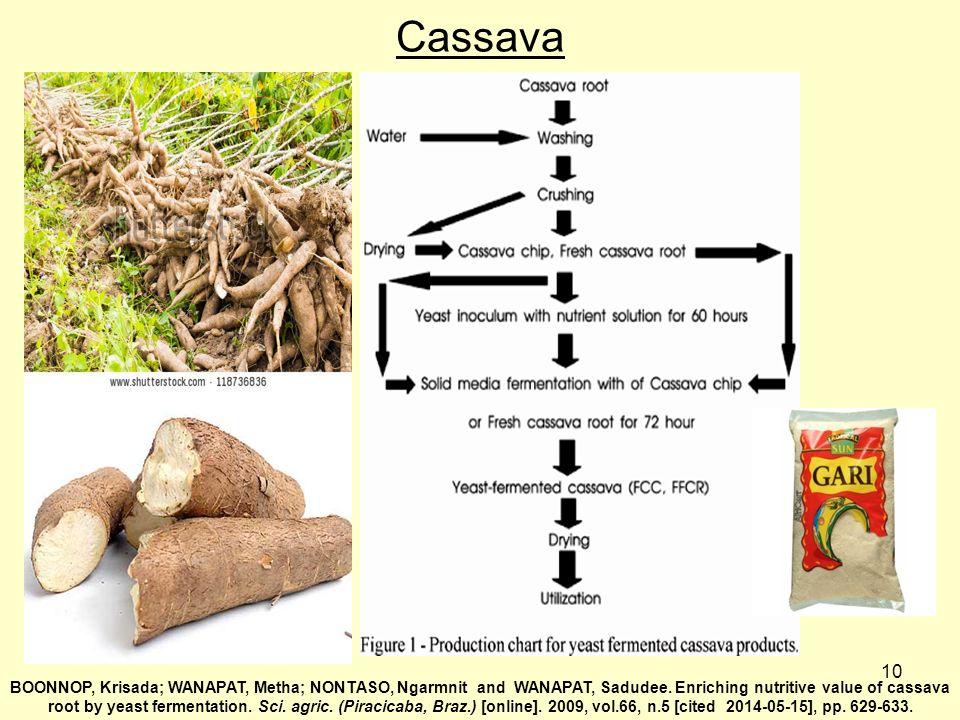 10 Cassava BOONNOP, Krisada; WANAPAT, Metha; NONTASO, Ngarmnit and WANAPAT, Sadudee. Enriching nutritive value of cassava root by yeast fermentation.
