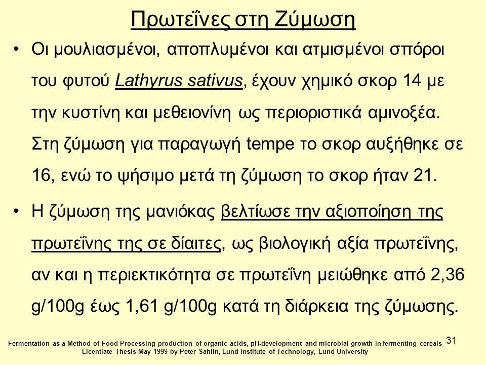 31 Πρωτεΐνες στη Ζύμωση Οι μουλιασμένοι, αποπλυμένοι και ατμισμένοι σπόροι του φυτού Lathyrus sativus, έχουν χημικό σκορ 14 με την κυστίνη και μεθειονίνη ως περιοριστικά αμινοξέα.