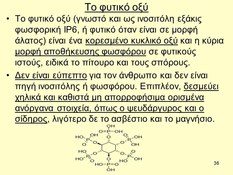 36 Το φυτικό οξύ Το φυτικό οξύ (γνωστό και ως ινοσιτόλη εξάκις φωσφορική ΙΡ6, ή φυτικό όταν είναι σε μορφή άλατος) είναι ένα κορεσμένο κυκλικό οξύ και η κύρια μορφή αποθήκευσης φωσφόρου σε φυτικούς ιστούς, ειδικά το πίτουρο και τους σπόρους.