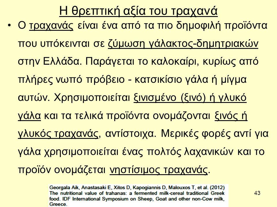 43 Η θρεπτική αξία του τραχανά Ο τραχανάς είναι ένα από τα πιο δημοφιλή προϊόντα που υπόκεινται σε ζύμωση γάλακτος-δημητριακών στην Ελλάδα. Παράγεται