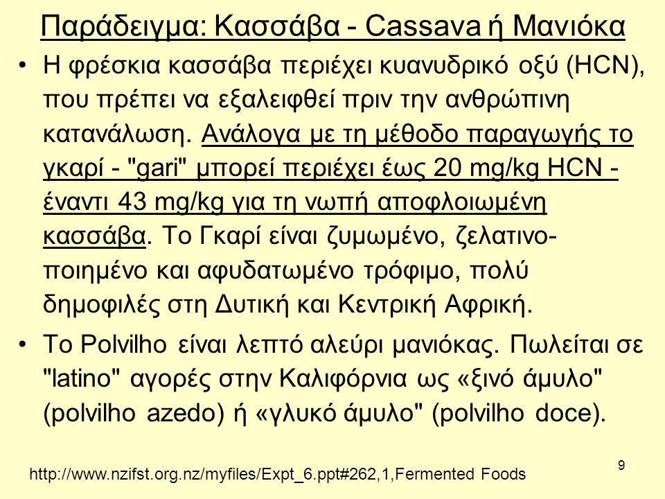 9 Παράδειγμα: Κασσάβα - Cassava ή Μανιόκα H φρέσκια κασσάβα περιέχει κυανυδρικό οξύ (HCN), που πρέπει να εξαλειφθεί πριν την ανθρώπινη κατανάλωση.