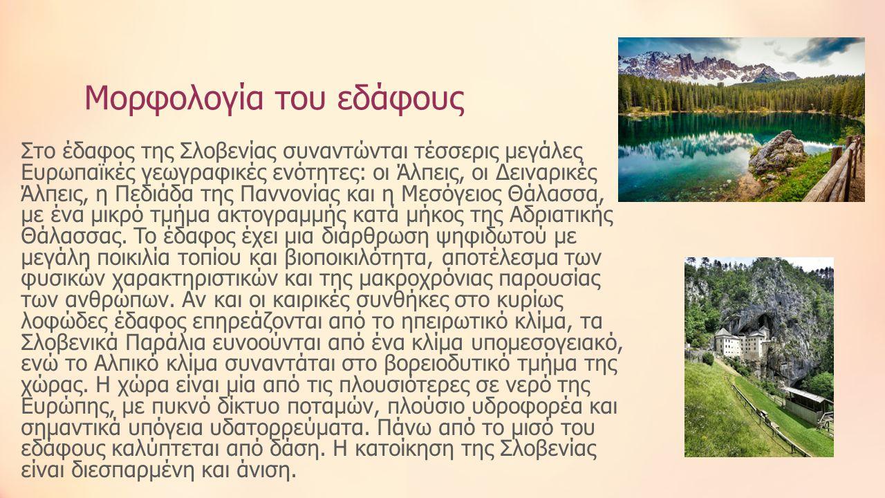 Μορφολογία του εδάφους Στο έδαφος της Σλοβενίας συναντώνται τέσσερις μεγάλες Ευρωπαϊκές γεωγραφικές ενότητες: οι Άλπεις, οι Δειναρικές Άλπεις, η Πεδιάδα της Παννονίας και η Μεσόγειος Θάλασσα, με ένα μικρό τμήμα ακτογραμμής κατά μήκος της Αδριατικής Θάλασσας.
