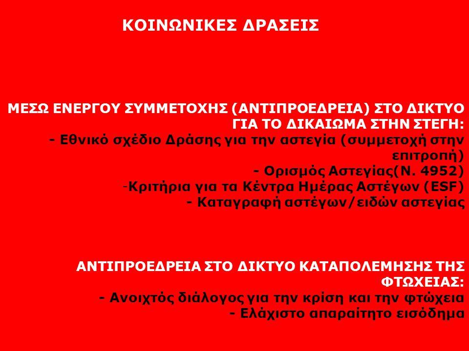 ΚΟΙΝΩΝΙΚΕΣ ΔΡΑΣΕΙΣ ΜΕΣΩ ΕΝΕΡΓΟΥ ΣΥΜΜΕΤΟΧΗΣ (ΑΝΤΙΠΡΟΕΔΡΕΙΑ) ΣΤΟ ΔΙΚΤΥΟ ΓΙΑ ΤΟ ΔΙΚΑΙΩΜΑ ΣΤΗΝ ΣΤΕΓΗ: - Εθνικό σχέδιο Δράσης για την αστεγία (συμμετοχή στ