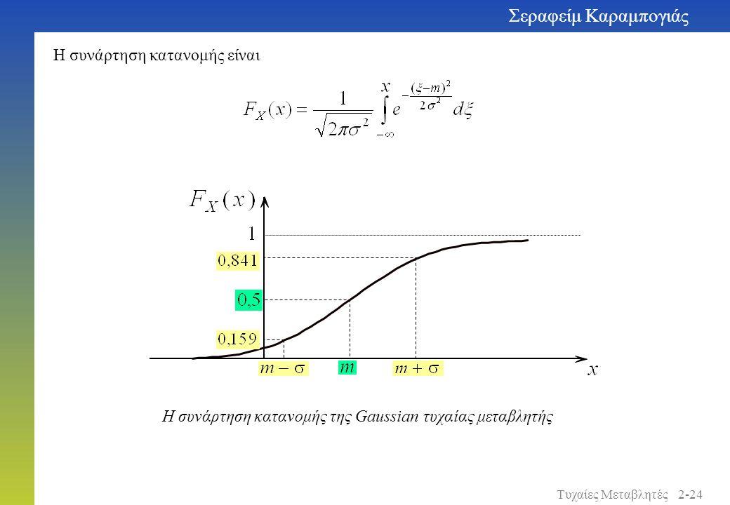Η συνάρτηση κατανομής είναι Η συνάρτηση κατανομής της Gaussian τυχαίας μεταβλητής Σεραφείμ Καραμπογιάς 2-24Τυχαίες Μεταβλητές