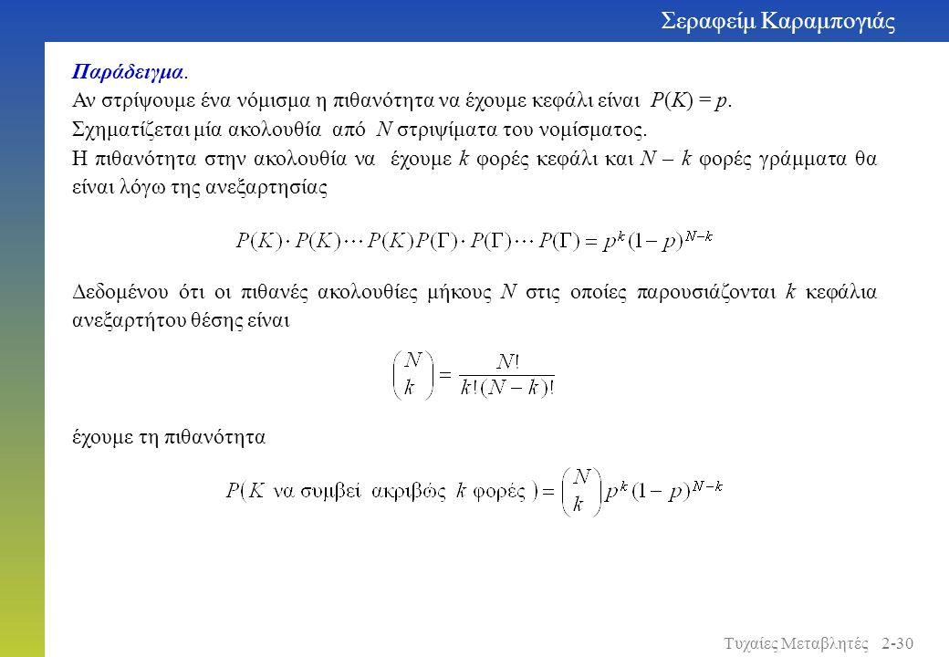 Παράδειγμα. Αν στρίψουμε ένα νόμισμα η πιθανότητα να έχουμε κεφάλι είναι P(K) = p. Σχηματίζεται μία ακολουθία από N στριψίματα του νομίσματος. Η πιθαν
