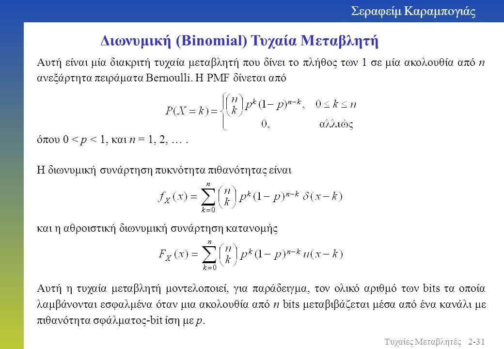 Διωνυμική (Binomial) Τυχαία Μεταβλητή όπου 0 < p < 1, και n = 1, 2, …. Αυτή είναι μία διακριτή τυχαία μεταβλητή που δίνει το πλήθος των 1 σε μία ακολο
