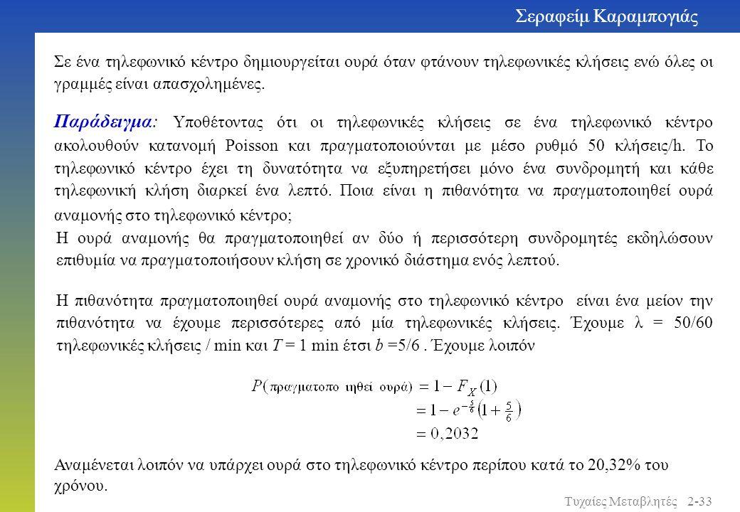 Παράδειγμα: Υποθέτοντας ότι οι τηλεφωνικές κλήσεις σε ένα τηλεφωνικό κέντρο ακολουθούν κατανομή Poisson και πραγματοποιούνται με μέσο ρυθμό 50 κλήσεις