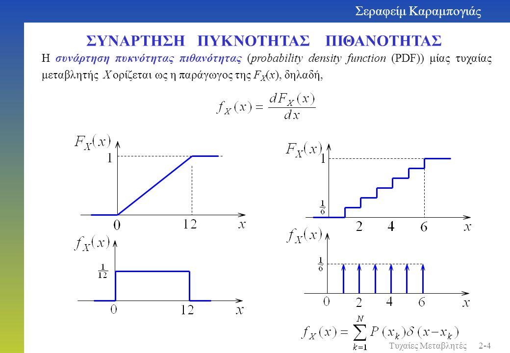 ΣΥΝΑΡΤΗΣΗ ΠΥΚΝΟΤΗΤΑΣ ΠΙΘΑΝΟΤΗΤΑΣ Η συνάρτηση πυκνότητας πιθανότητας (probability density function (PDF)) μίας τυχαίας μεταβλητής X ορίζεται ως η παράγ
