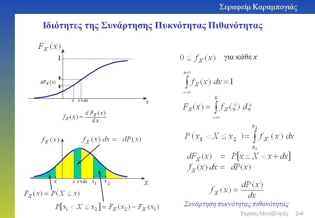 Ιδιότητες της Συνάρτησης Πυκνότητας Πιθανότητας για κάθε x Συνάρτηση πυκνότητας πιθανότητας Σεραφείμ Καραμπογιάς 2-6Τυχαίες Μεταβλητές