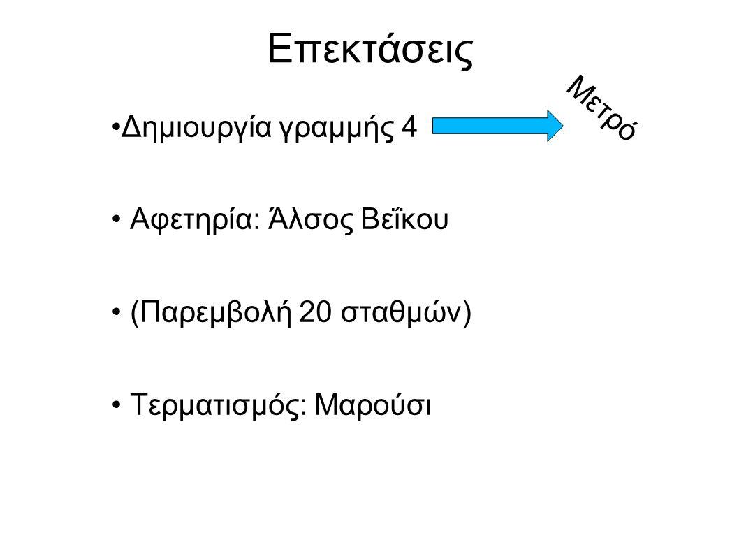Επεκτάσεις Δημιουργία γραμμής 4 Αφετηρία: Άλσος Βεΐκου (Παρεμβολή 20 σταθμών) Τερματισμός: Μαρούσι Μετρό