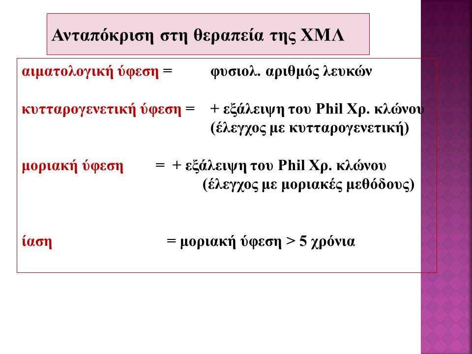 Ανταπόκριση στη θεραπεία της ΧΜΛ αιματολογική ύφεση=φυσιολ. αριθμός λευκών κυτταρογενετική ύφεση =+ εξάλειψη του Phil Χρ. κλώνου (έλεγχος με κυτταρογε
