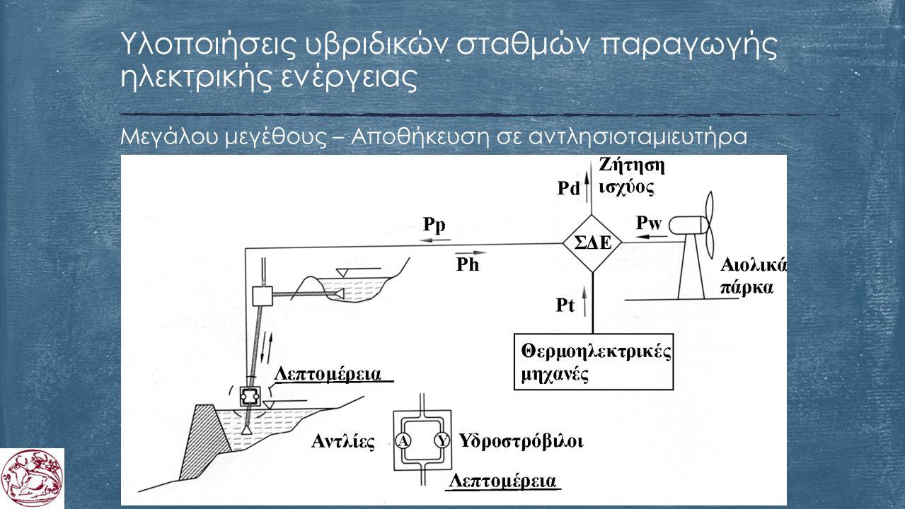 Μεγάλου μεγέθους – Αποθήκευση σε αντλησιοταμιευτήρα Υλοποιήσεις υβριδικών σταθμών παραγωγής ηλεκτρικής ενέργειας