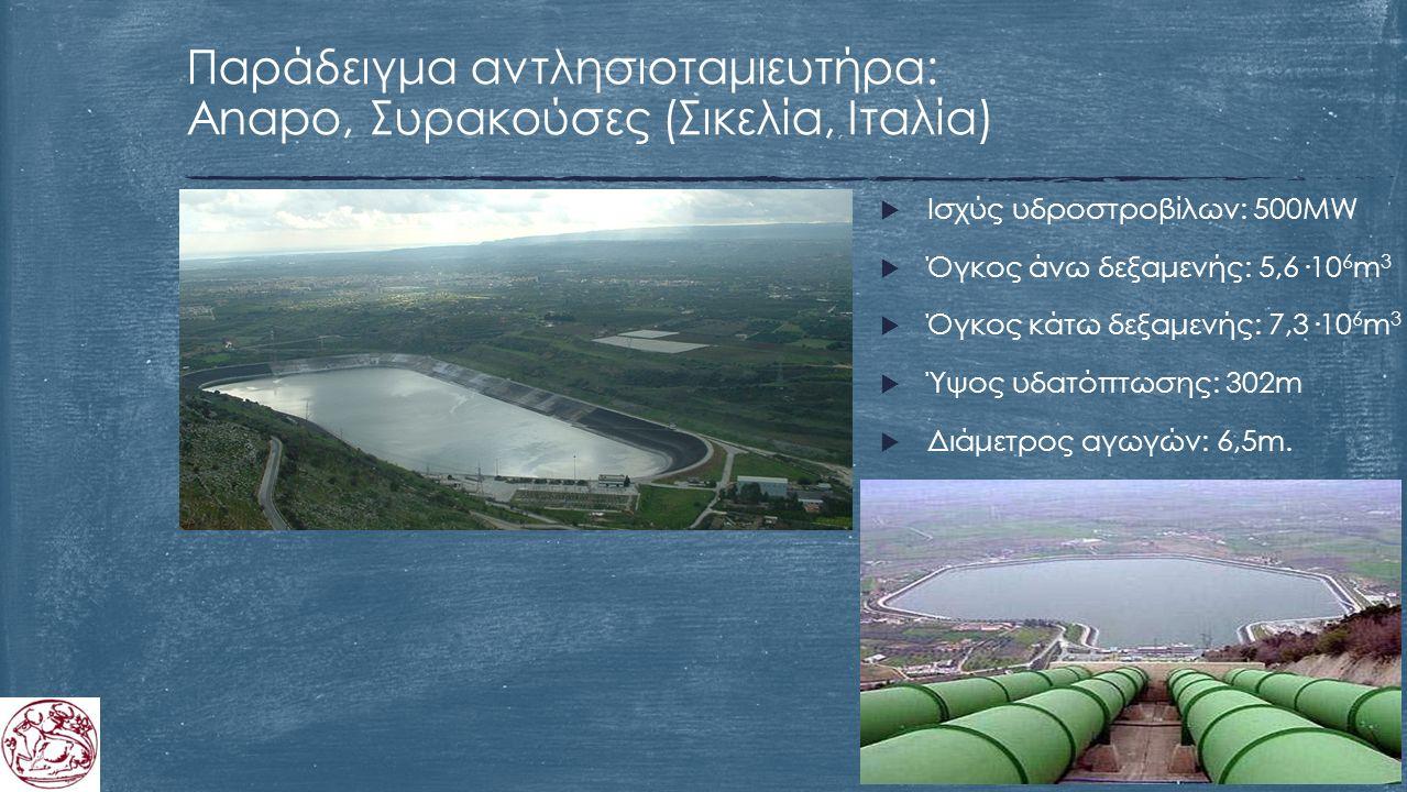 Παράδειγμα αντλησιοταμιευτήρα: Anapo, Συρακούσες (Σικελία, Ιταλία)  Ισχύς υδροστροβίλων: 500MW  Όγκος άνω δεξαμενής: 5,6·10 6 m 3  Όγκος κάτω δεξαμενής: 7,3·10 6 m 3  Ύψος υδατόπτωσης: 302m  Διάμετρος αγωγών: 6,5m.