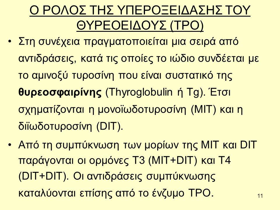 11 Ο ΡΟΛΟΣ ΤΗΣ ΥΠΕΡΟΞΕΙΔΑΣΗΣ ΤΟΥ ΘΥΡΕΟΕΙΔΟΥΣ (TPO) Στη συνέχεια πραγματοποιείται µια σειρά από αντιδράσεις, κατά τις οποίες το ιώδιο συνδέεται µε το αµινοξύ τυροσίνη που είναι συστατικό της θυρεοσφαιρίνης (Thyroglobulin ή Tg).