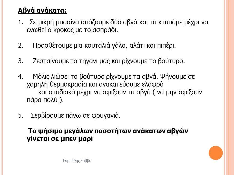 Ευριπίδης Σάββα Αβγά ανάκατα: 1.