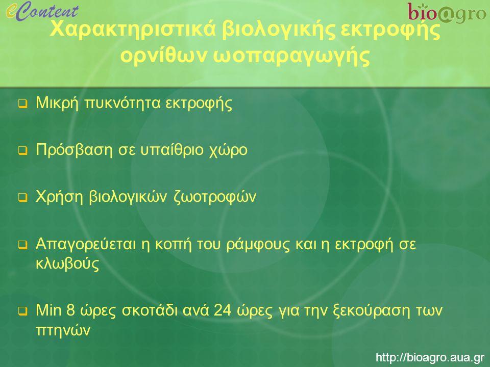 http://bioagro.aua.gr Χαρακτηριστικά βιολογικής εκτροφής ορνίθων ωοπαραγωγής  Μικρή πυκνότητα εκτροφής  Πρόσβαση σε υπαίθριο χώρο  Χρήση βιολογικών