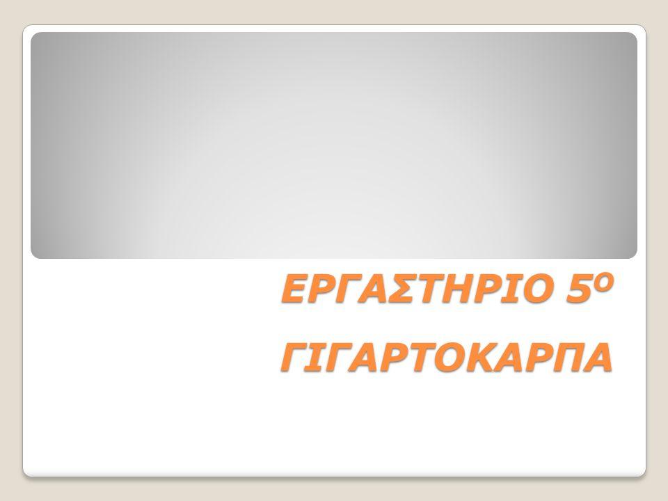 ΕΡΓΑΣΤΗΡΙΟ 5 Ο ΓΙΓΑΡΤΟΚΑΡΠΑ