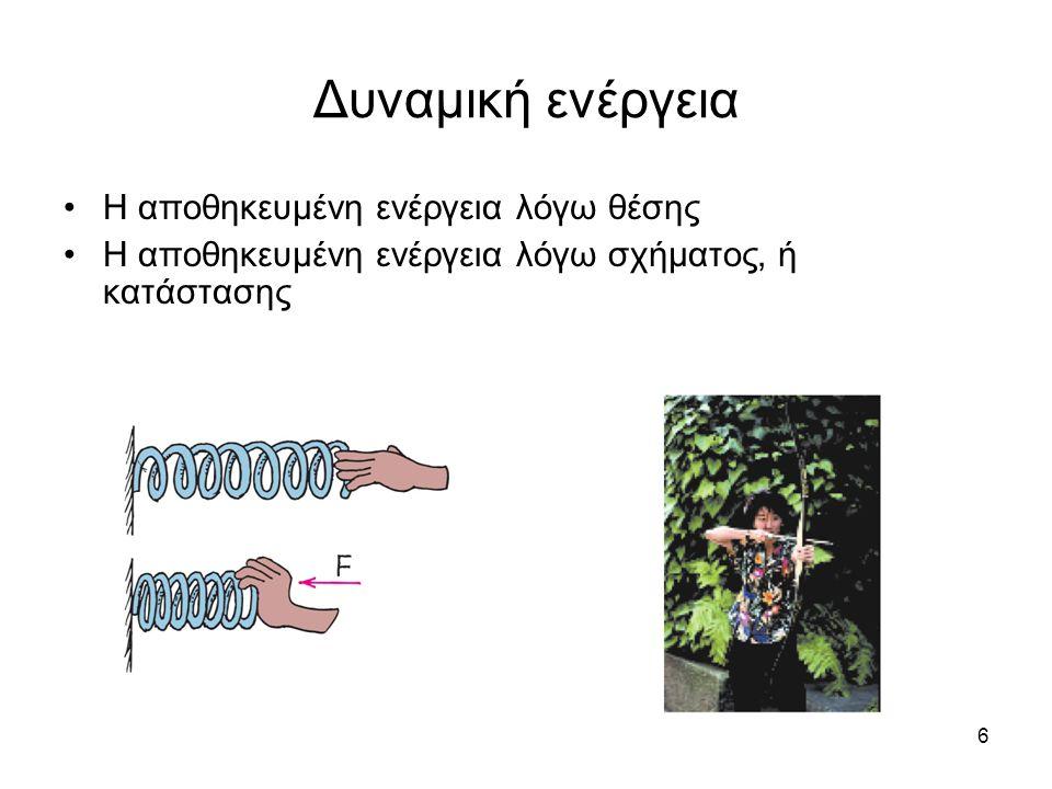6 Δυναμική ενέργεια Η αποθηκευμένη ενέργεια λόγω θέσης Η αποθηκευμένη ενέργεια λόγω σχήματος, ή κατάστασης