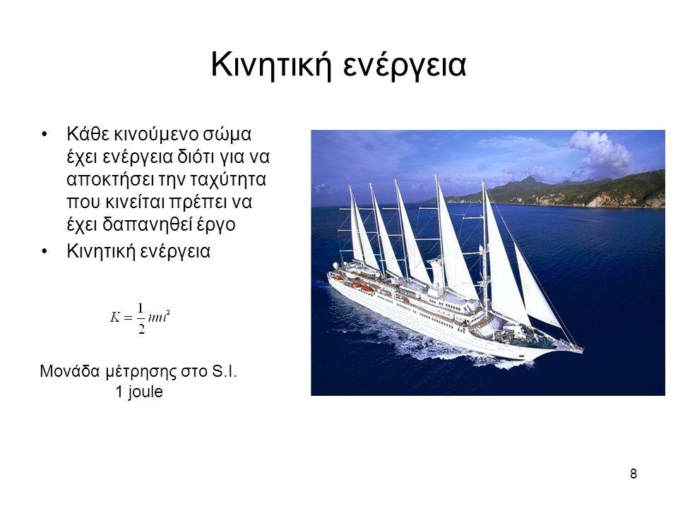 8 Κινητική ενέργεια Κάθε κινούμενο σώμα έχει ενέργεια διότι για να αποκτήσει την ταχύτητα που κινείται πρέπει να έχει δαπανηθεί έργο Κινητική ενέργεια Μονάδα μέτρησης στο S.I.