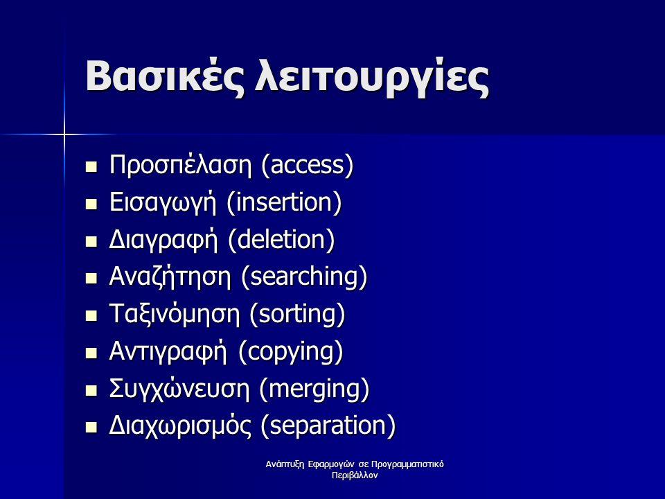 Βασικές λειτουργίες Προσπέλαση (access) Προσπέλαση (access) Εισαγωγή (insertion) Εισαγωγή (insertion) Διαγραφή (deletion) Διαγραφή (deletion) Αναζήτηση (searching) Αναζήτηση (searching) Ταξινόμηση (sorting) Ταξινόμηση (sorting) Αντιγραφή (copying) Αντιγραφή (copying) Συγχώνευση (merging) Συγχώνευση (merging) Διαχωρισμός (separation) Διαχωρισμός (separation)